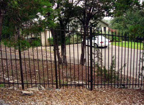 2 rail black metal fence gate and security