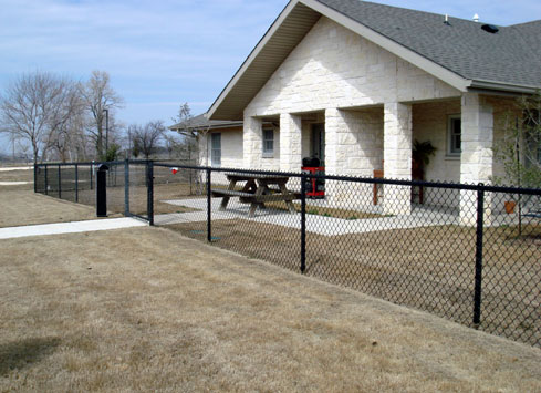 black chain link fence around home