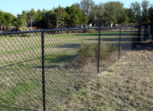 black chain link fence around property