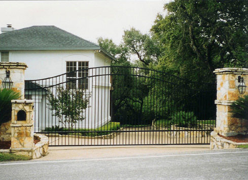 decorative wrought iron automatic driveway gate