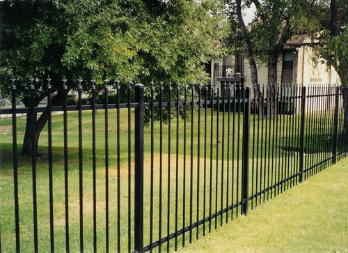double rail black ornamental iron fence