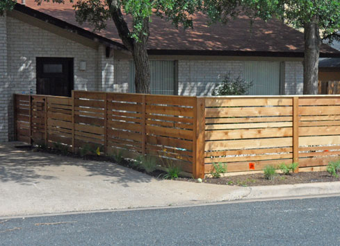 horizontal spaced front yard fence
