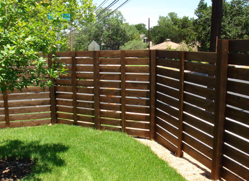 horizontal stained wood fence