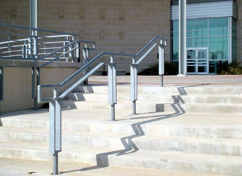 metal handrail up steps