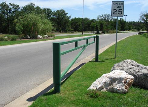 simple metal office park driveway gate