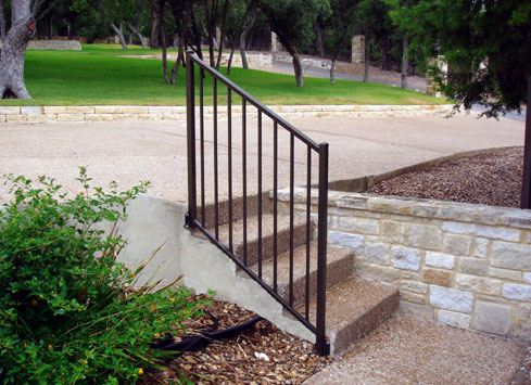 small handrail off of driveway