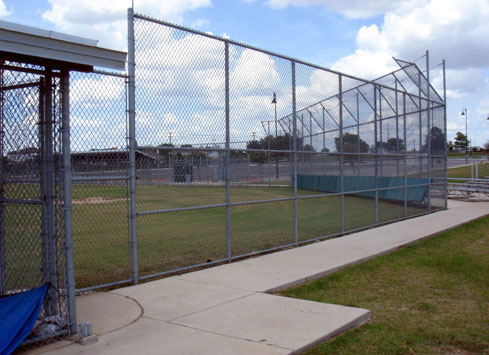 sport field backstop chain link fence