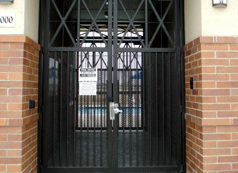 tall metal gate to stadium