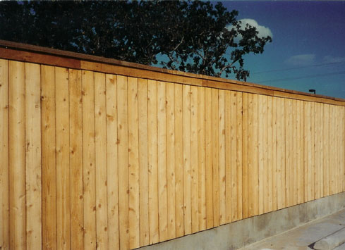 wood privacy fence around business