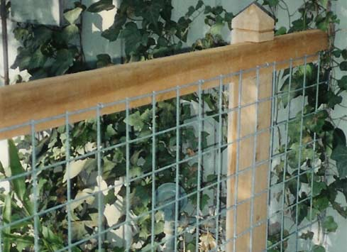 detail of cattle panel fence and cedar post