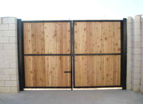 swinging wood commercial gate