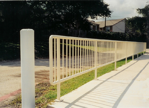 white metal handrail exterior of business
