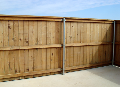 wood privacy fence metal poles